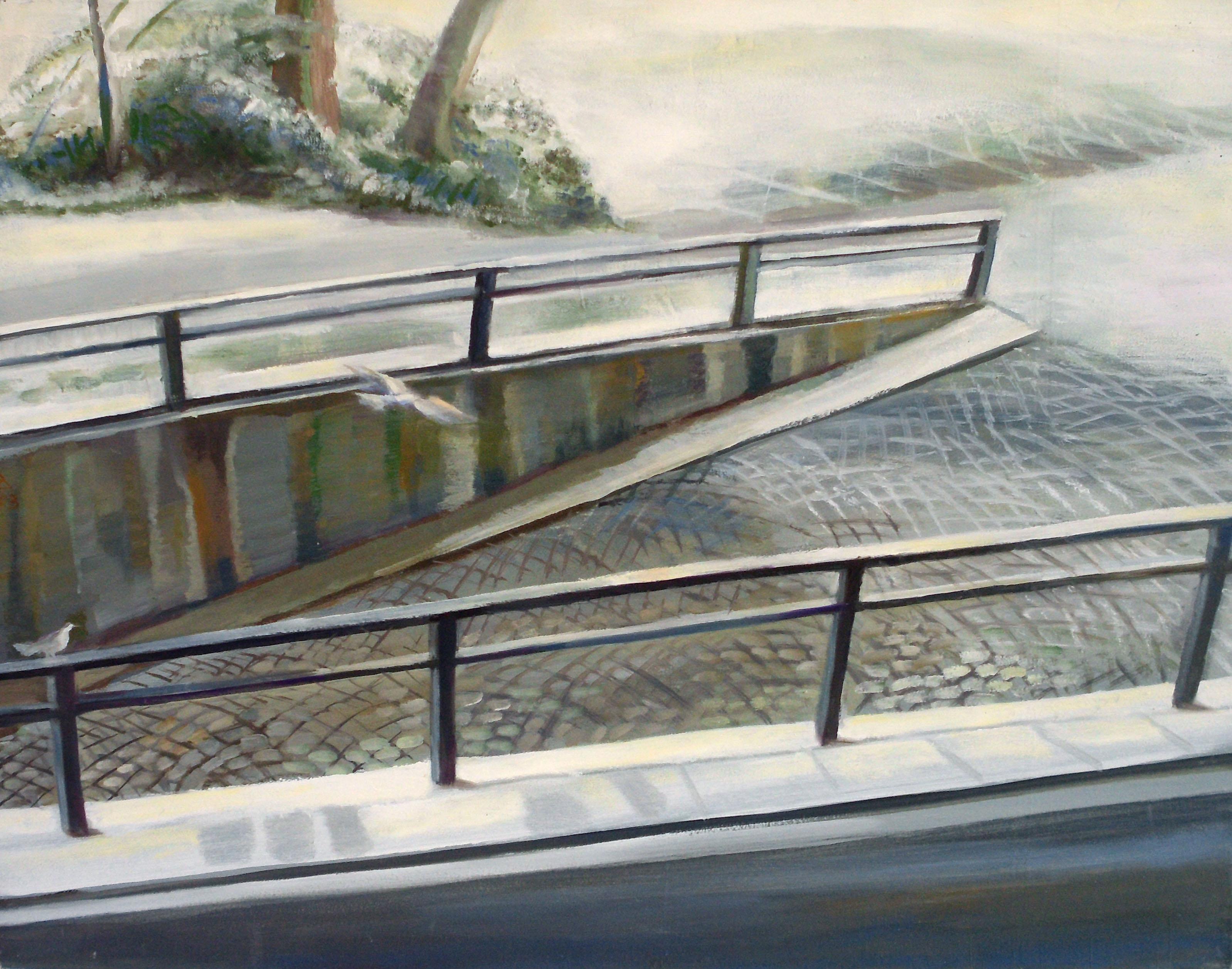 Almut Zielonka - Tiefgarageneinfahrt im Winter | Öl auf Baumwolle | 2003