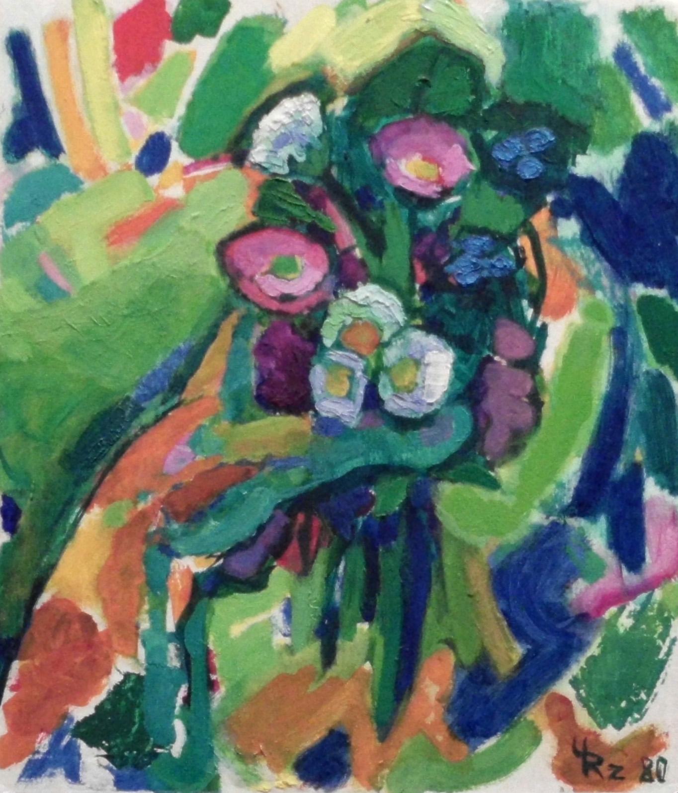 22-ursula_rzodeczko-hand_mit_fruehlingsblumen-1980-oel_auf_hartfaser-40x35