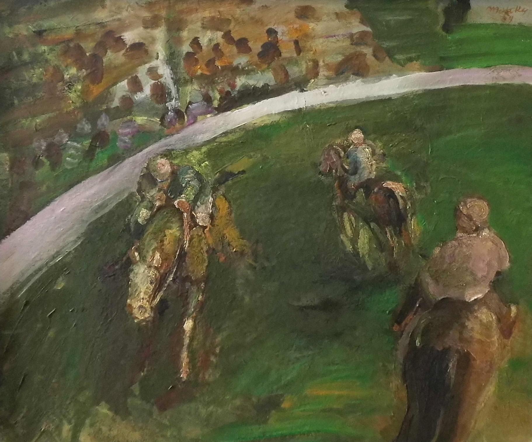 09-harald_metzkes-trainierende_jockeys-1969-oel_auf_leinwand-50x60