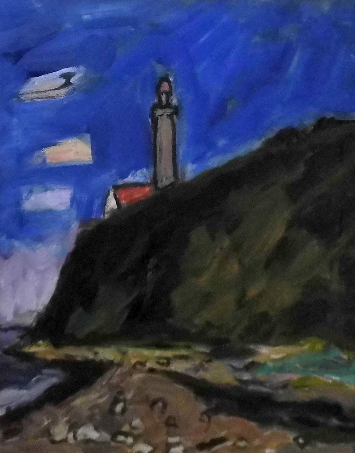 17-klaus_roenspiess-inselspitze_mit_leuchtturm-2014-oel_auf_leinwand-50x40