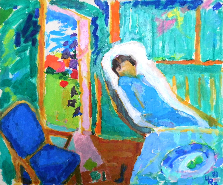 02-Ursula Rzodeczko-Interieur mit kranker Frau-1998-Öl auf Hartfaser-50x60