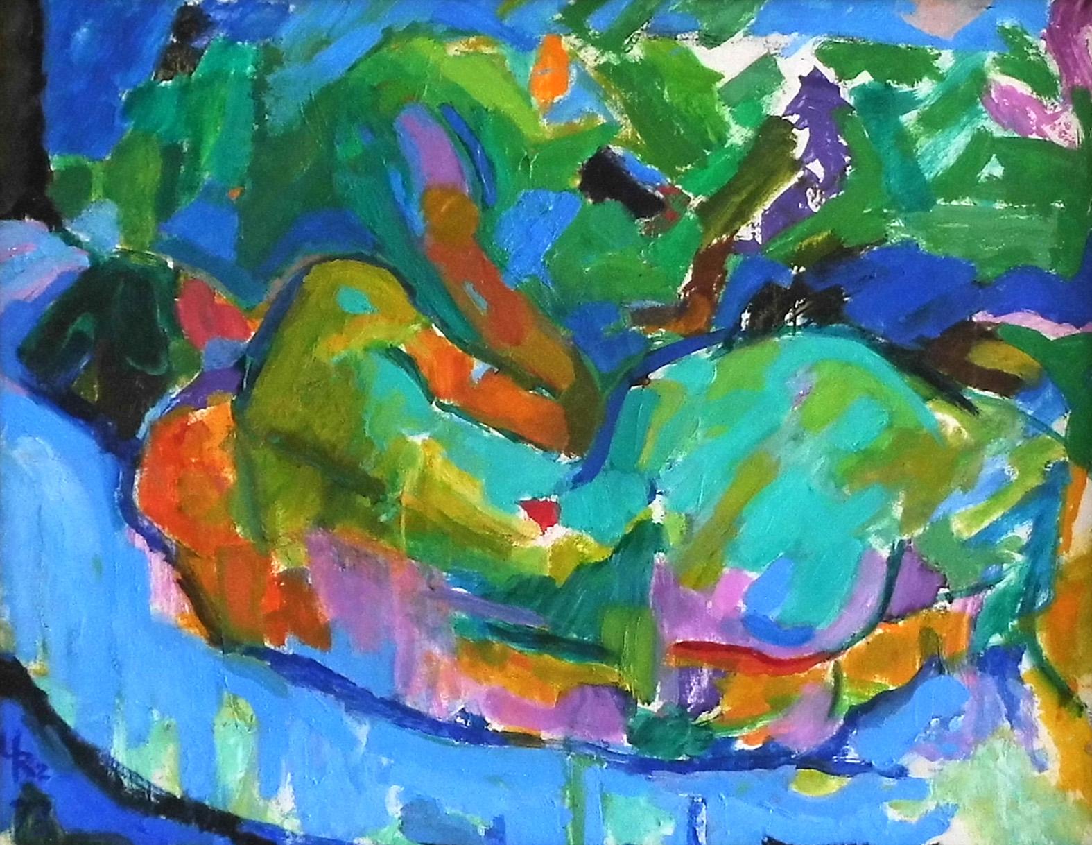 03-Ursula Rzodeczko-Ruhende mit erhobenem Arm-1978-Öl auf Hartfaser-44x56