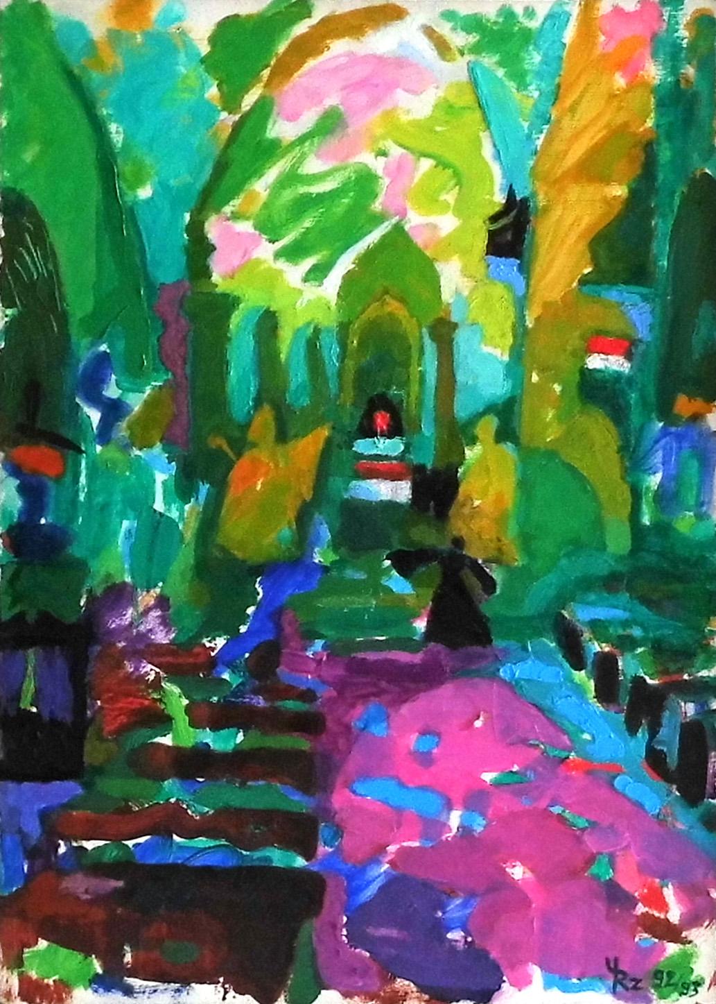 04-Ursula Rzodeczko-In der Dorotheenkirche zu Breslau-1992_93-Öl auf Hartfaser-52x37