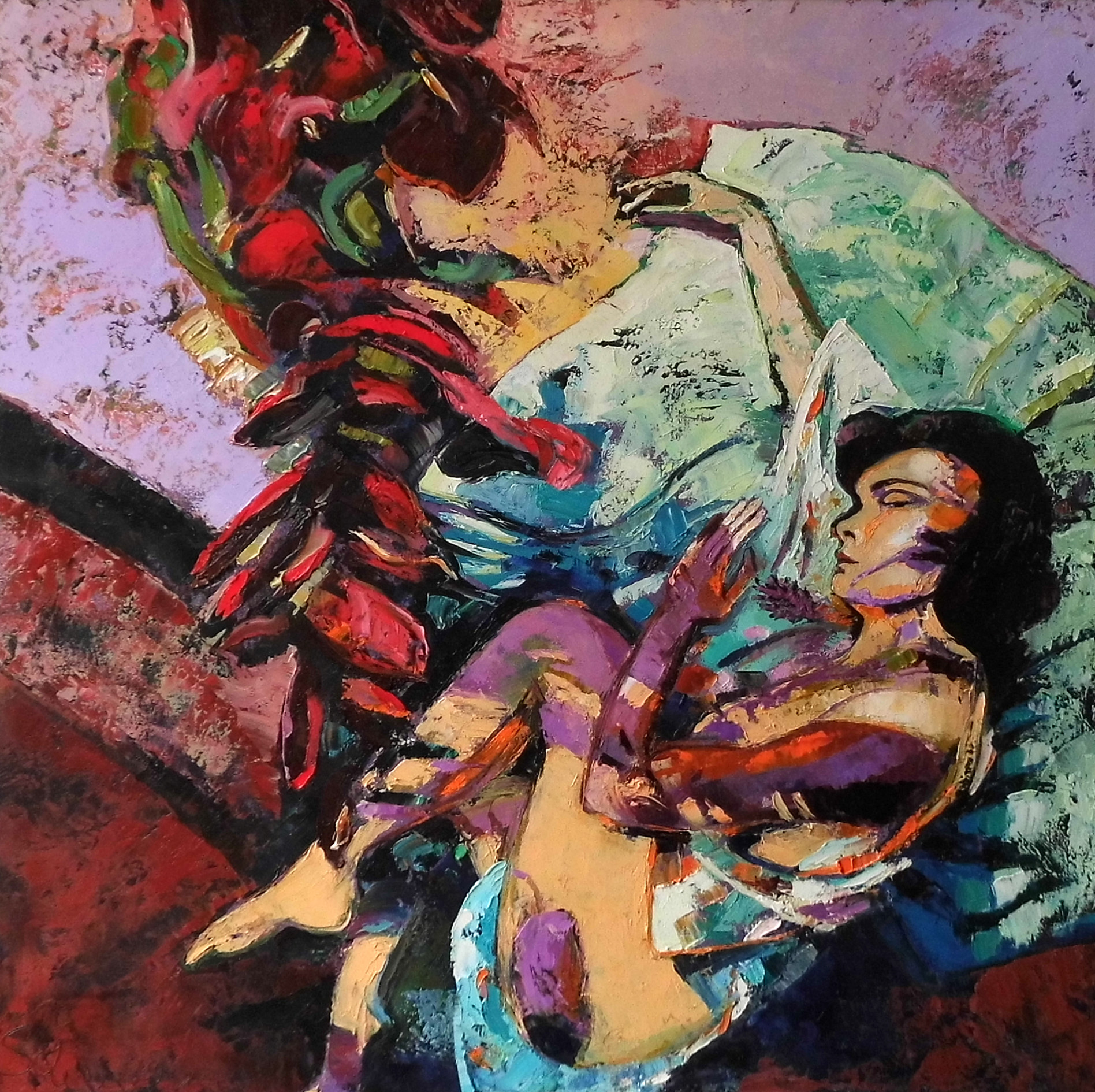 10-Christine Schlegel-Sonnenbaden-2015-Öl auf Leinwand-100x100