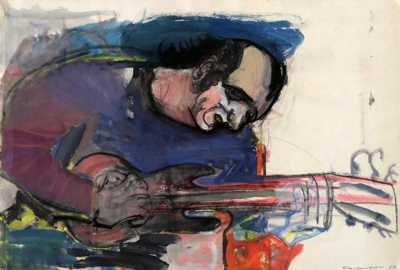 03-claus_weidensdorfer-der_gitarrist_joe_sachse-1987-kohle_und_wasserfarben-53x78-5
