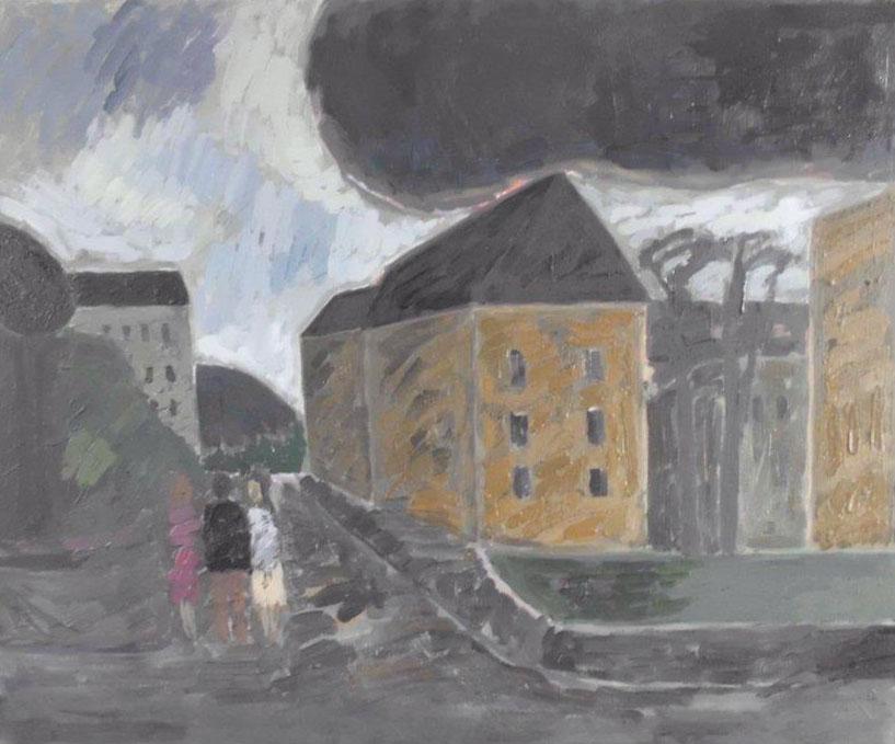 Klaus Roenspieß - Landschaft mit großer Wolke