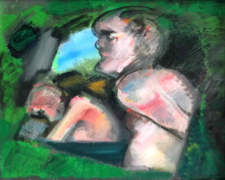 05-hans_vent-2_akte_im_gruenen-2003-oel_auf_leinwand-40x50