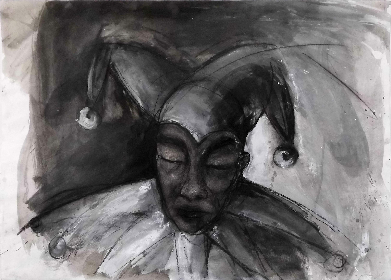 16-angela_hampel-clown-mischtechnik_papier-50x70