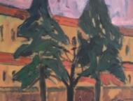 Klaus Roenspieß - Grüne Tanne vor rotem Haus